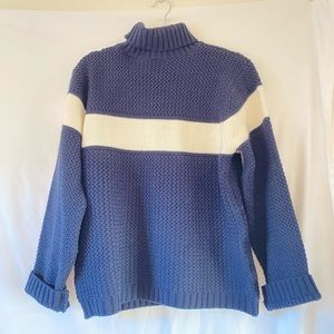 Gloria Vanderbilt Navy/White Knit Turtleneck